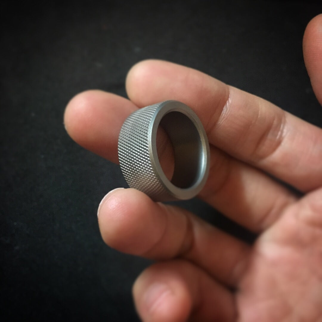Handcrafted Titanium Knurling Ring