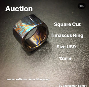 3/17/2018 Square Cut Timascus Ring Size US9