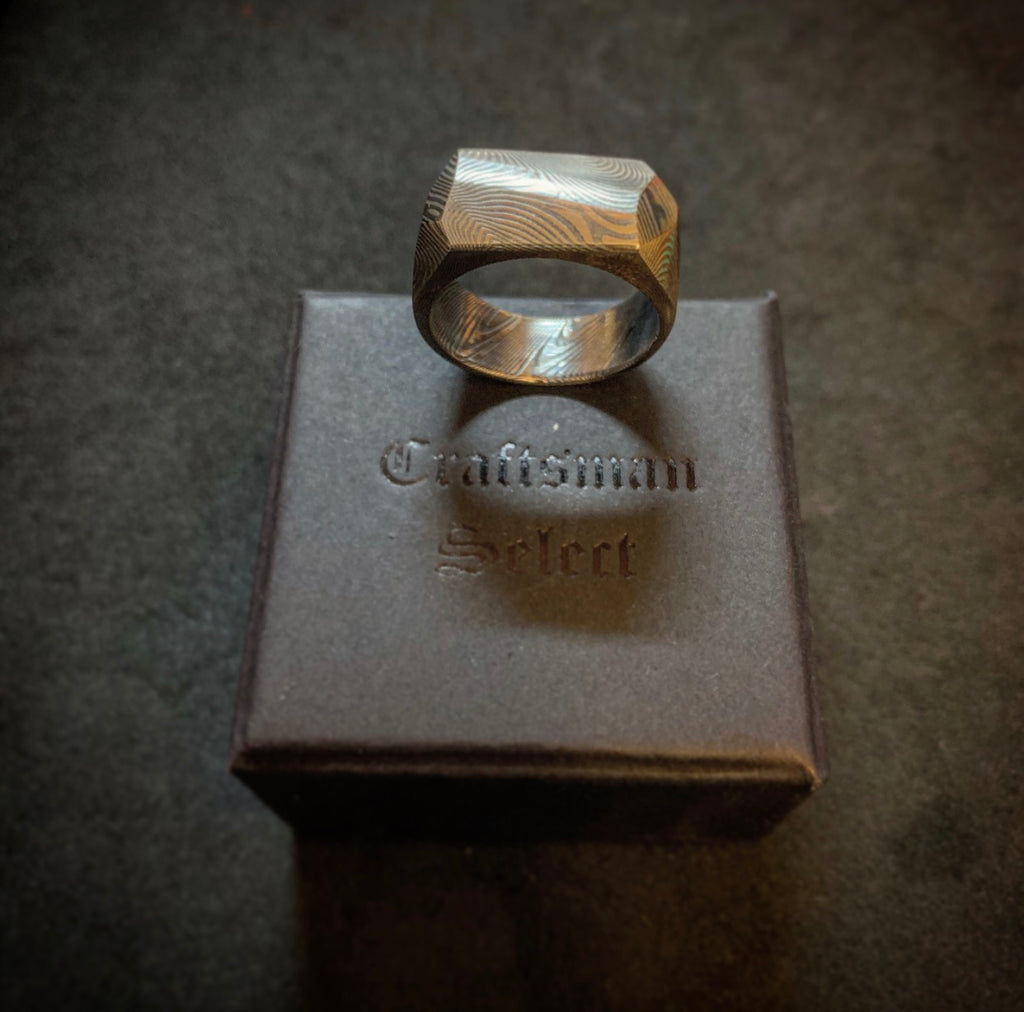 Craftsman Select - Damascus Geometric Ring