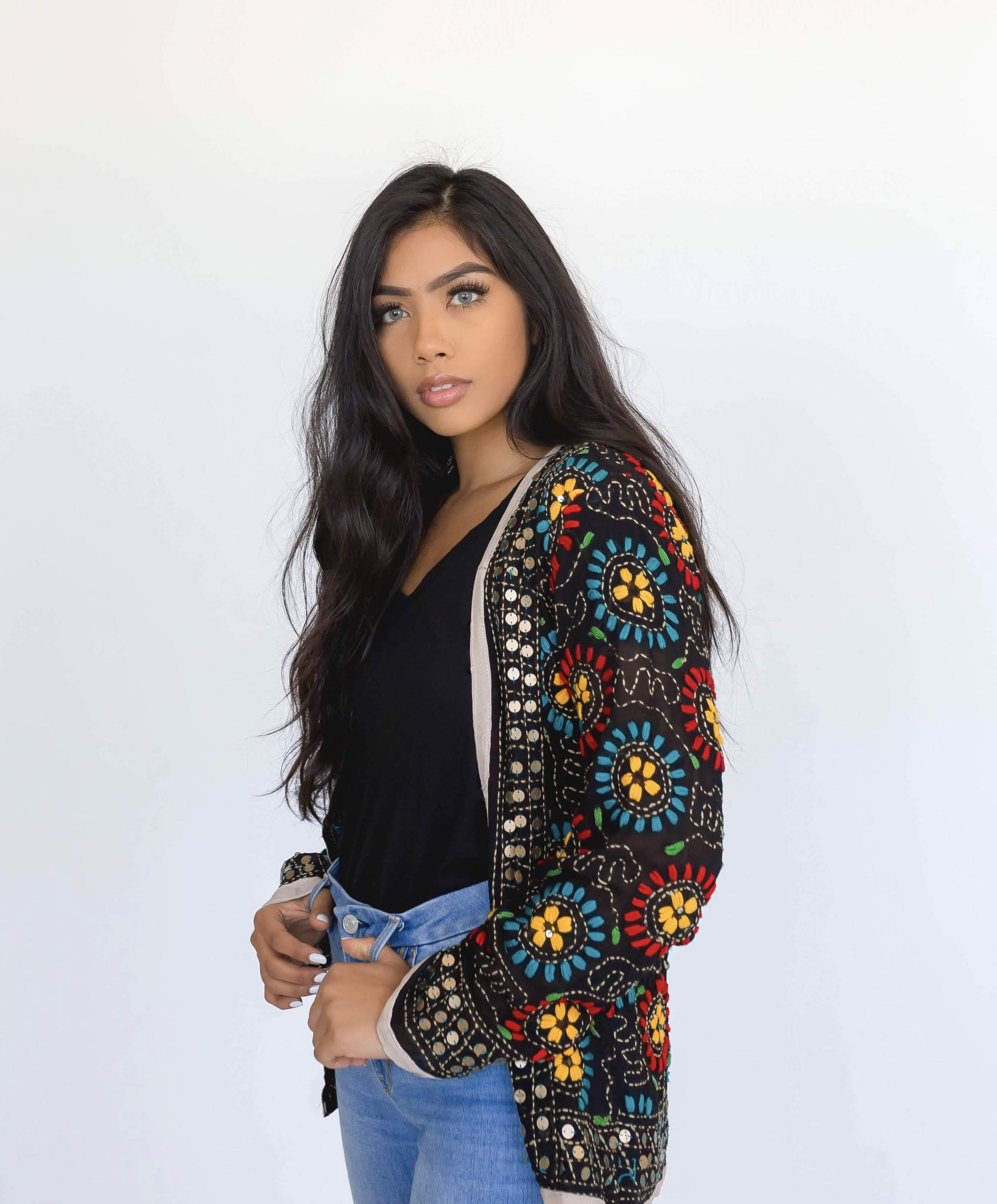 phulkari embroidered cardigan