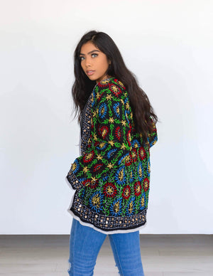 phulkari hand embroidered cardigan