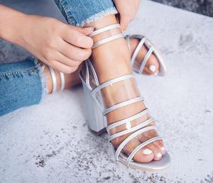 Clear strap summer high heel sandals