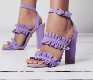 Cute ruffle high heels