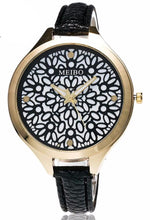 Trendy quartz leather flower watch