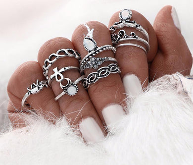 Stylish retro midi rings set
