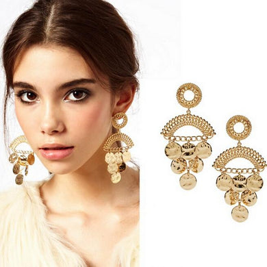 Exotic gold coin earrings