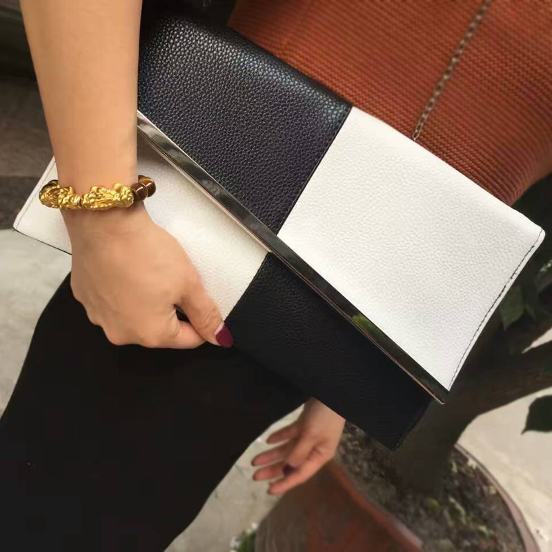 Black and white envelope clutch