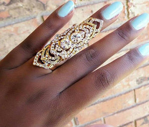 Dazzling crystal full finger ring