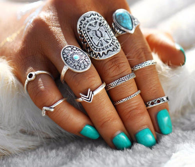 Bohemian silver & gold midi ring set