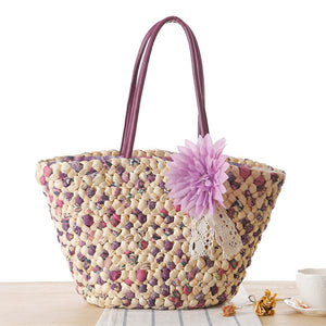 Candy flower straw handbag