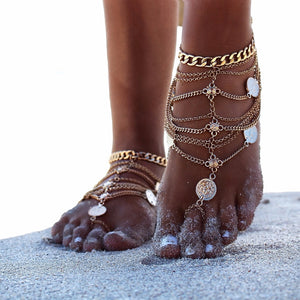 Stylish multi layered coin anklet