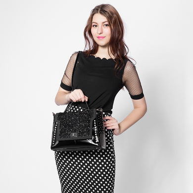 Stylish studded glitter handbag