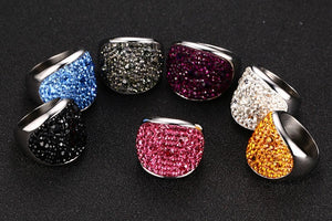 Colorful rhinestone steel rings
