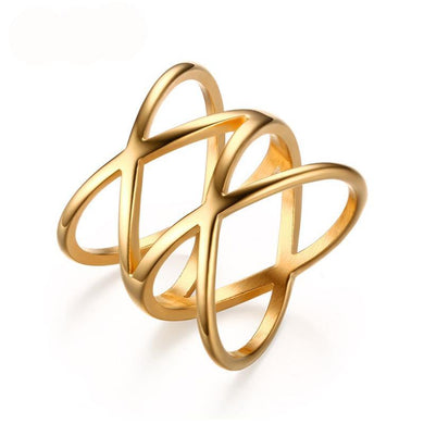 Trendy gold X cross ring