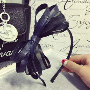Hot leather bow knot hair band
