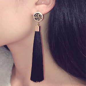 Elegant long rhinestone tassel earrings