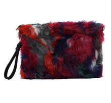 Trendy faux fur envelope clutch purses