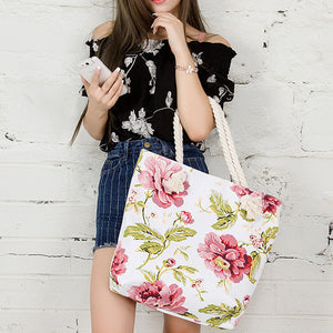 Floral canvas large shoulder bag