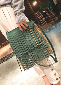 Trendy leather tassel bag