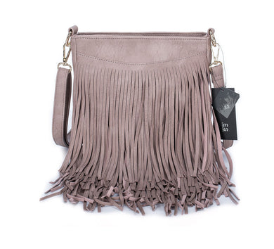 Unique leather tassel shoulder bag