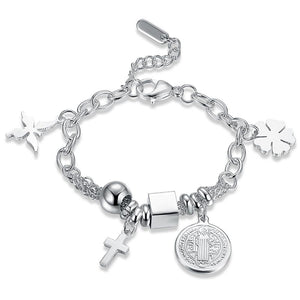 Silver steel cross charm bracelet