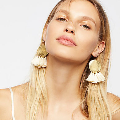Gold coin fringe earrings