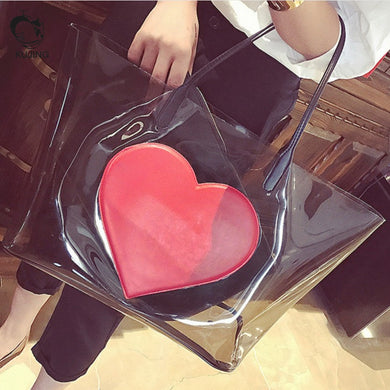 Transparent heart shoulder bag