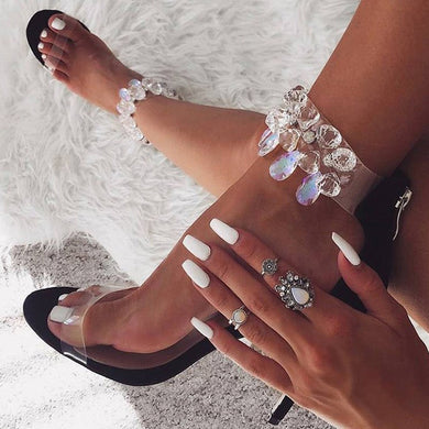 Transparent crystal ankle wrap heels