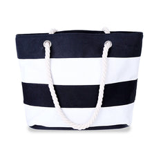 Large striped canvas shoulder bag