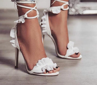 Sexy lace up frilly heels