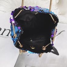 Stylish chained sequin bucket bag