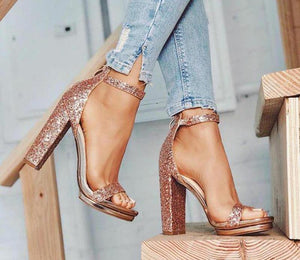 Pink peep toe sequin shoes