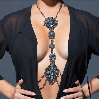 Crystal necklace body chain