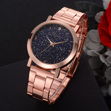 Rose gold steel glitter watches