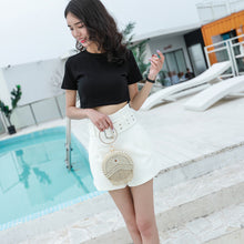 Beaded circle clutch bag