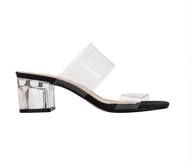 Transparent low heel sandals