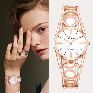 Rose gold hoop quartz watch