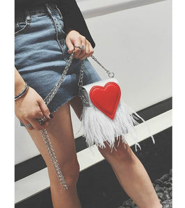 Trendy love heart chain bag