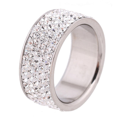 Stylish five row rhinestone ring
