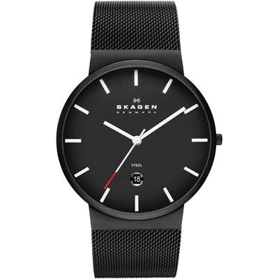 Skagen Klassik Black Dial Black PVD Mesh Men's Watch SKW6053