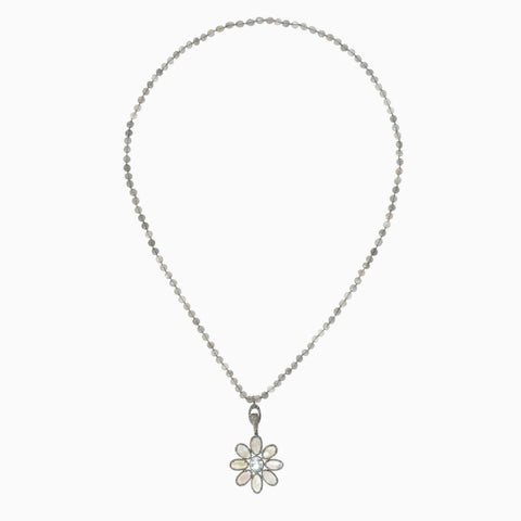 Open Diamond Crescent Star Necklace