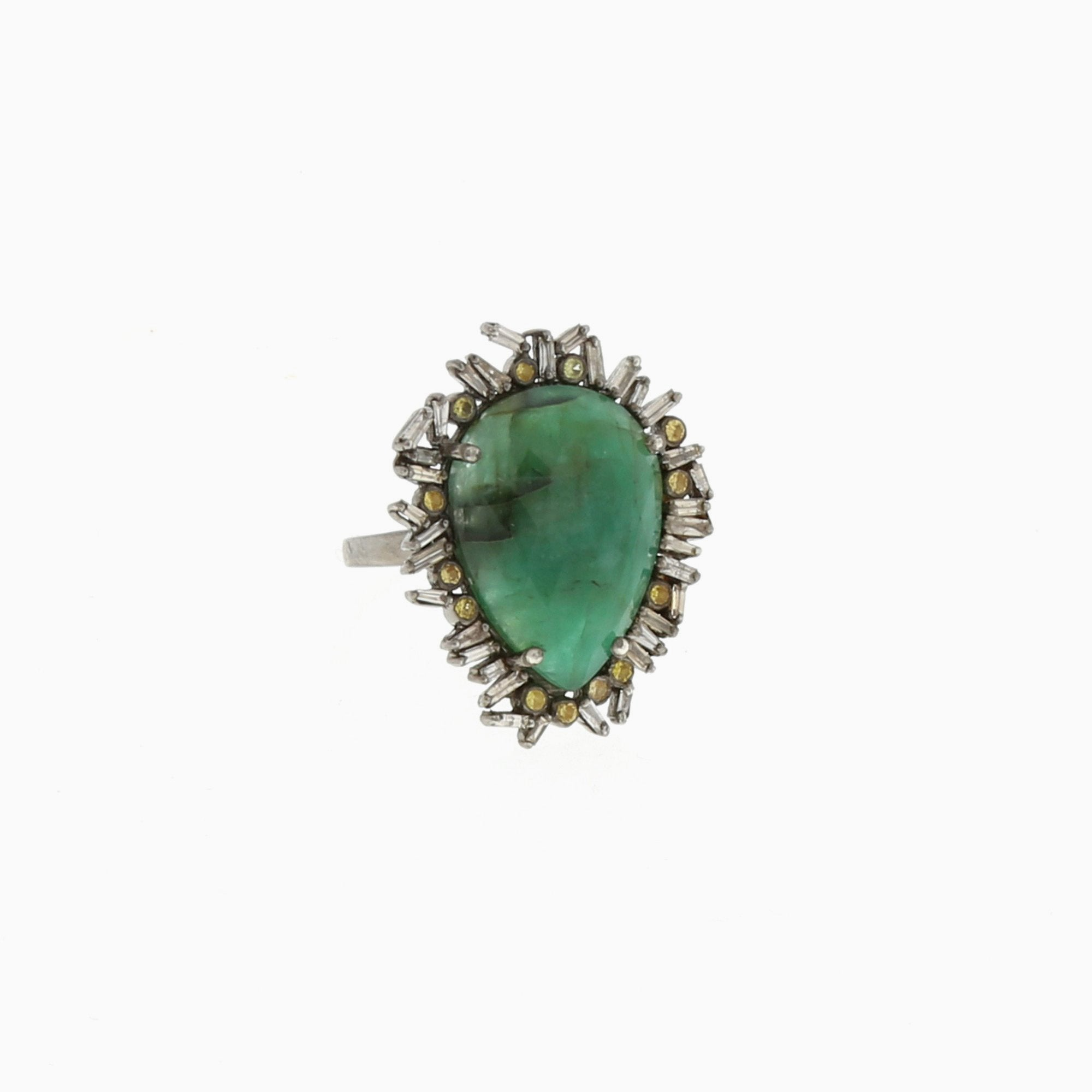 shank with silhouette rings and cut emerald stone platinum green three uneek emeral ring center in pave