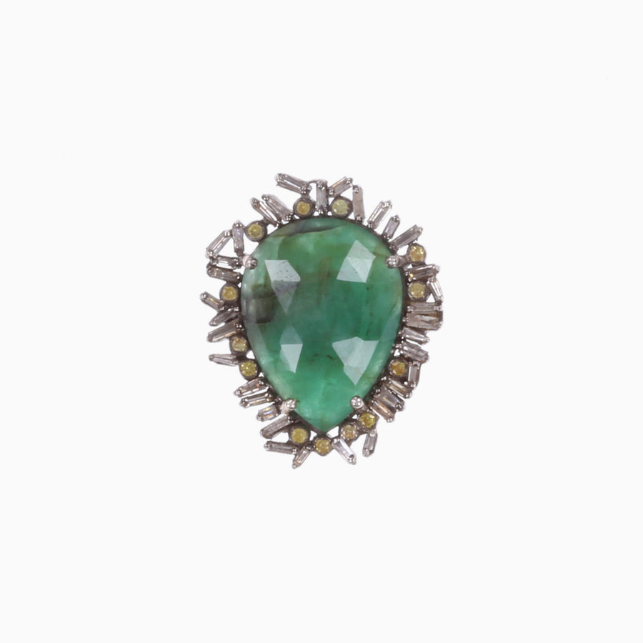 Emerald Baguette Diamond Bezel Ring