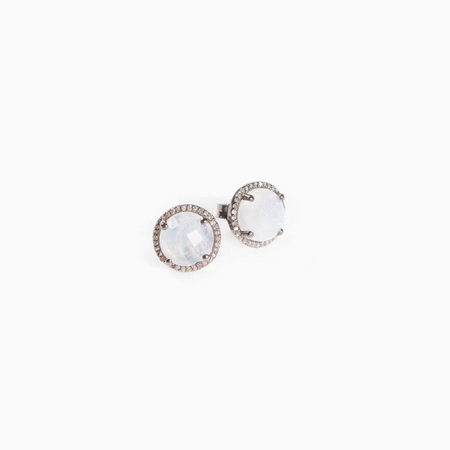 Moonstone Diamond Bezel Stud Earrings