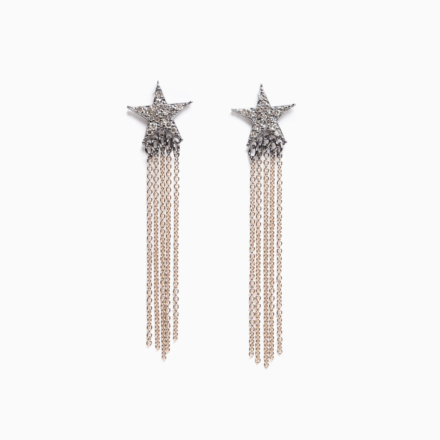 Diamond Star 14K Yellow Gold Chain Earrings