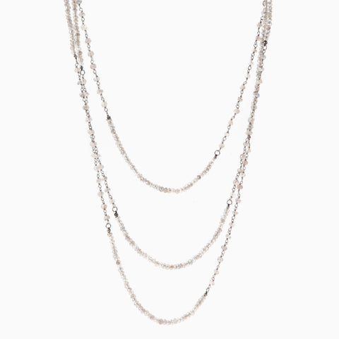Large Open Circle Diamond Lariat Necklace
