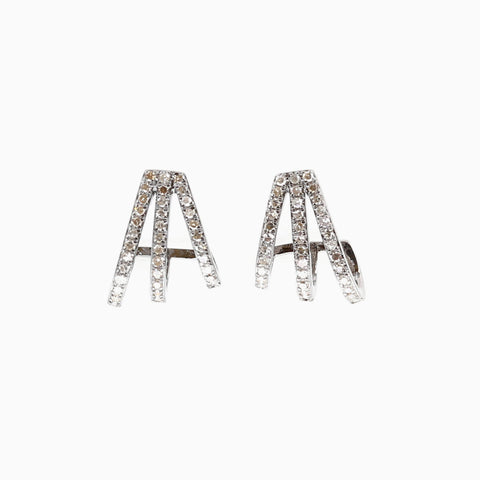 Diamond Star 14K Rose Gold Chain Earrings