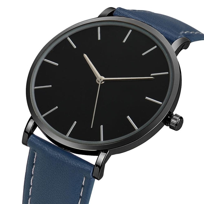 Men's Black Onyx Luxury Leather Watch