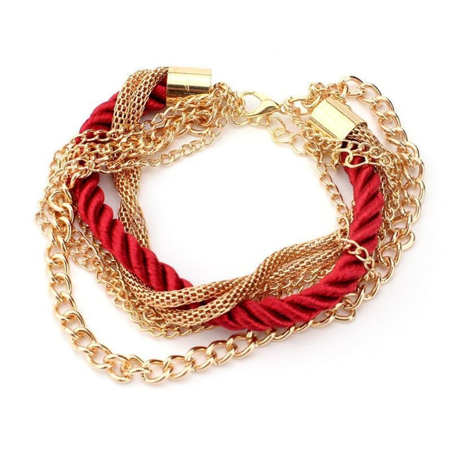 Multilayer Woven Bracelet with Retro Gold Chain Bracelet Red Clothing Accessories - BKR Design