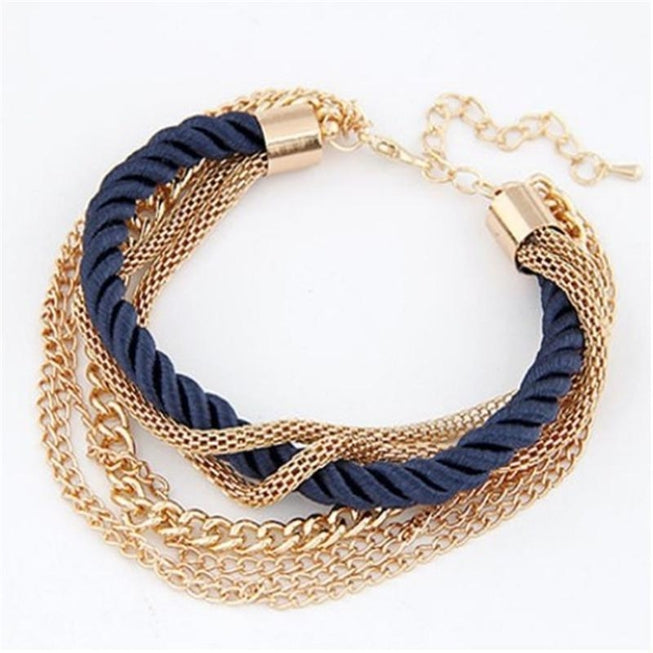 Multilayer Woven Bracelet with Retro Gold Chain Bracelet Black Jewellery - BKR Design
